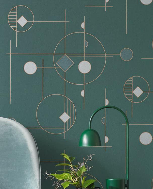 Tapete Geometric Grün