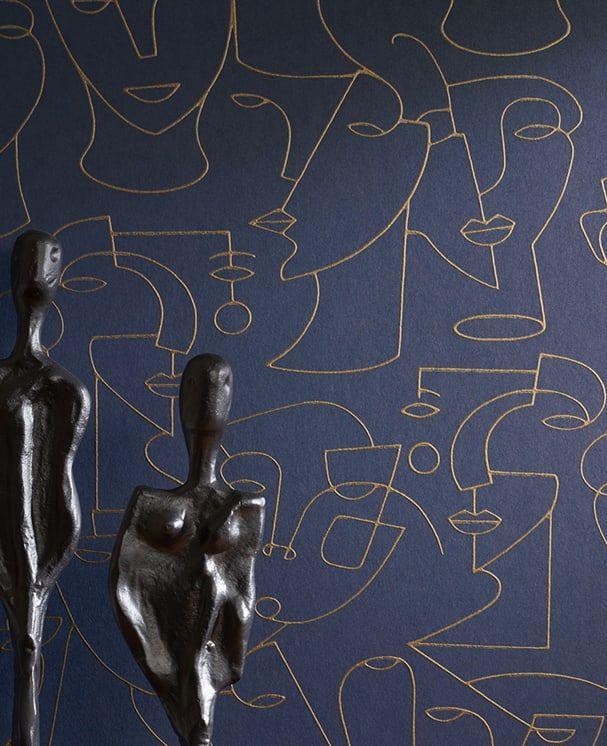 Tapete Sketched Blau