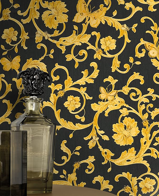 tapete butterfly barocco schwarz von versace as creation. Black Bedroom Furniture Sets. Home Design Ideas