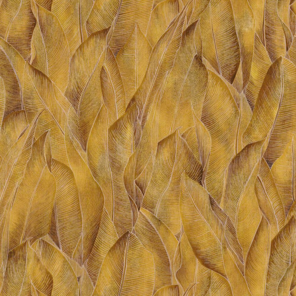 Tapete acajou gelb mit pflanzenmotiv in dschungeloptik auf for Tapete gelb muster