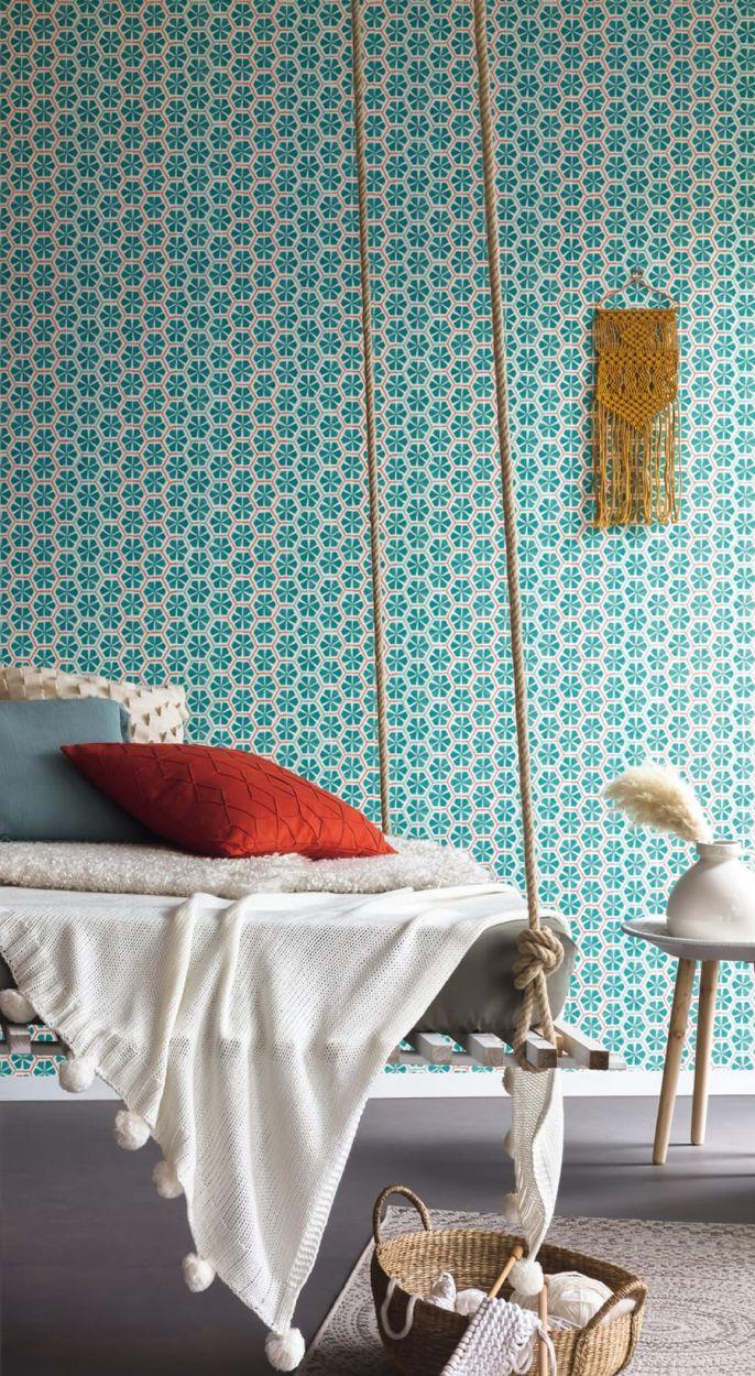 tapete amaury t rkis von caselio. Black Bedroom Furniture Sets. Home Design Ideas