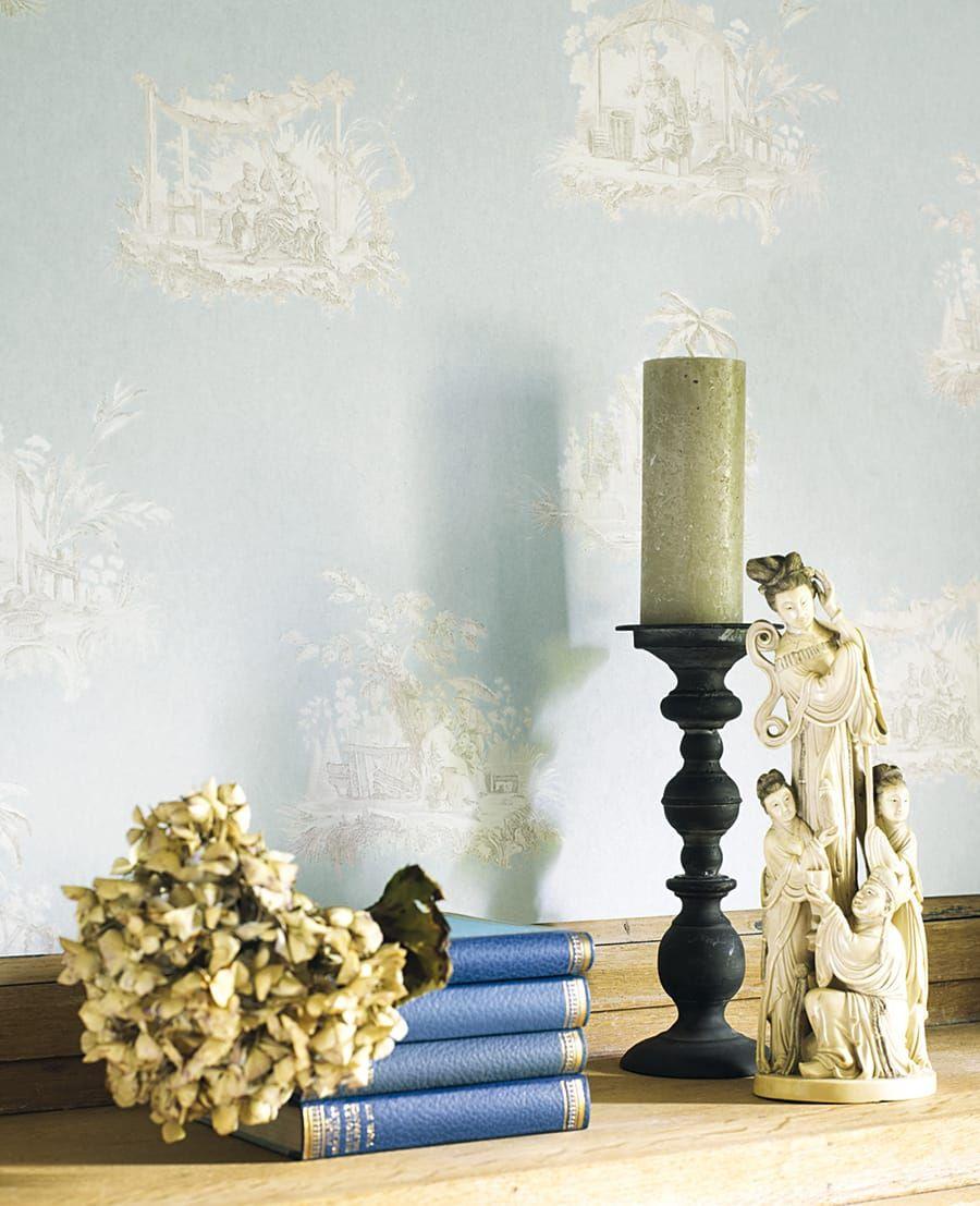 tapete claudine blau aus der casadeco kollektion fontainebleau. Black Bedroom Furniture Sets. Home Design Ideas