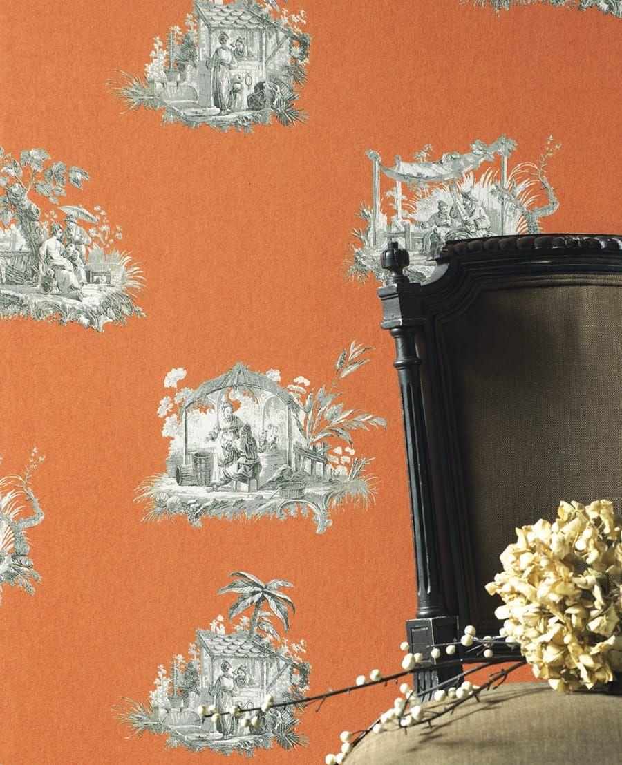 tapete claudine orange aus der casadeco kollektion. Black Bedroom Furniture Sets. Home Design Ideas