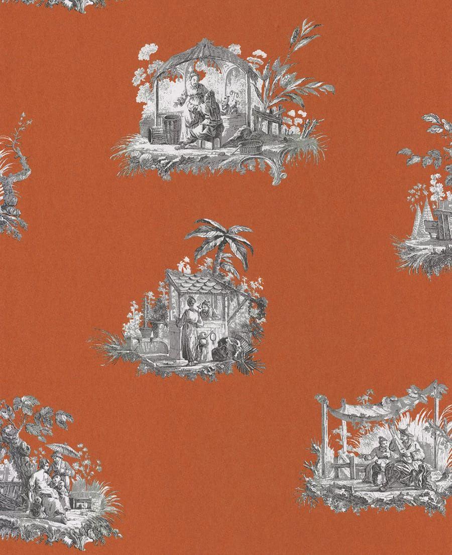 tapete claudine orange aus der casadeco kollektion fontainebleau. Black Bedroom Furniture Sets. Home Design Ideas