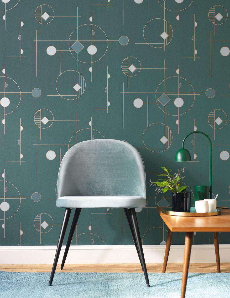 Grafische Tapete Geometric Im Satten Grun Im Retro Bauhaus Stil