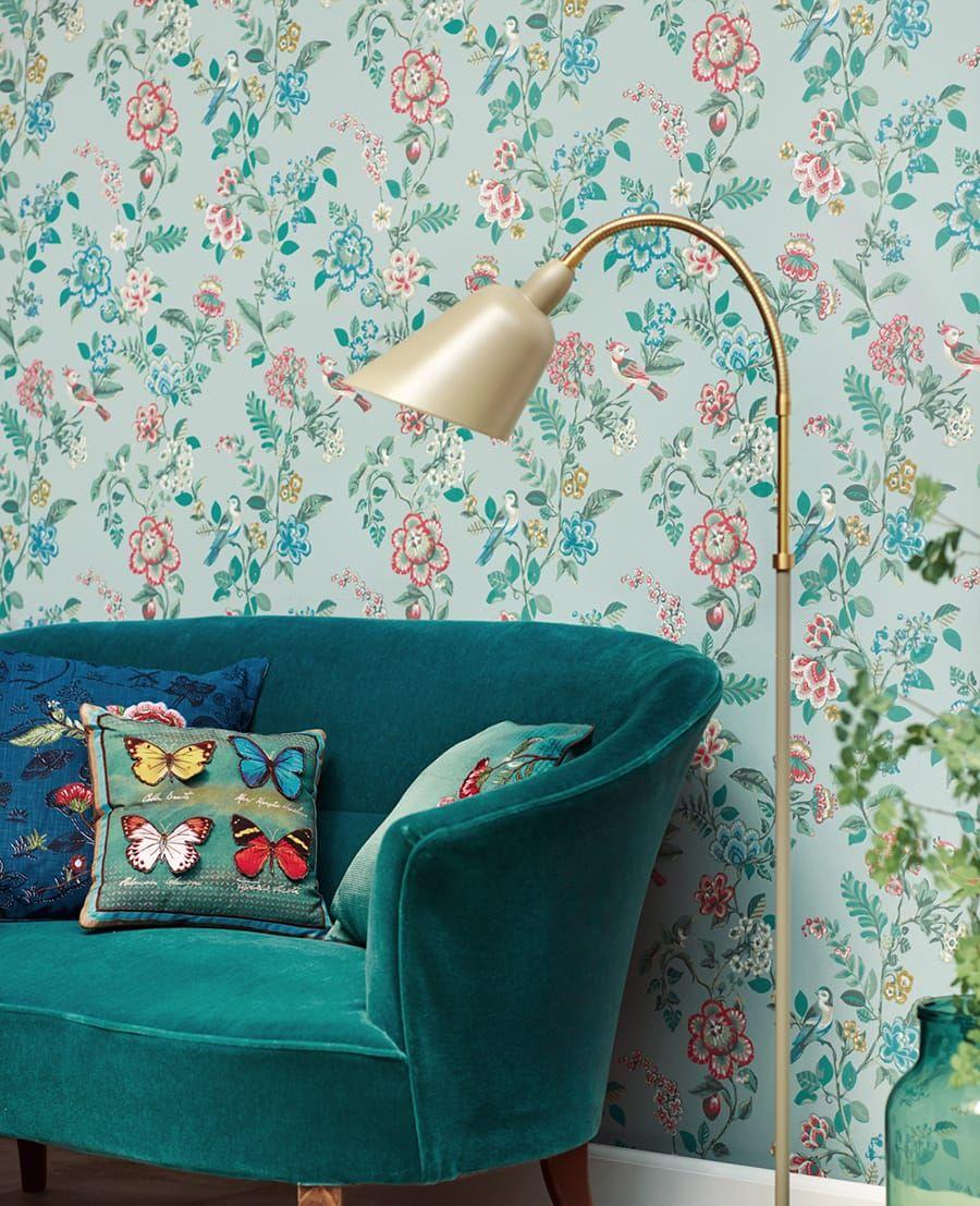 tapete gloria hellblau von eijffinger. Black Bedroom Furniture Sets. Home Design Ideas