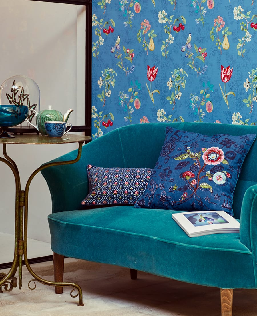 tapete roxanne dunkelblau von eijffinger. Black Bedroom Furniture Sets. Home Design Ideas