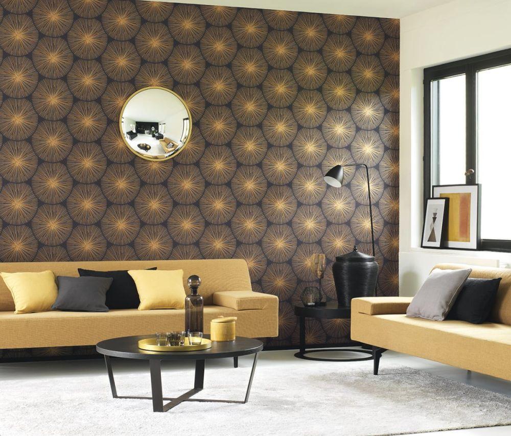 strahlende tapete skandi gold von casadeco kollektion. Black Bedroom Furniture Sets. Home Design Ideas