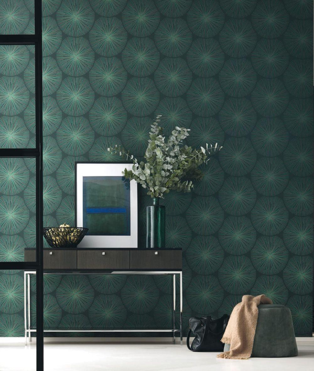 leuchtende tapete skandi gr n von casadeco kollektion helsinki. Black Bedroom Furniture Sets. Home Design Ideas