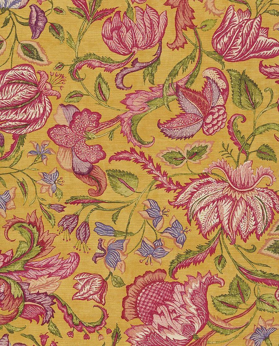 Exotische blumenstruktur mit tapete sundari gelb von for Tapete gelb