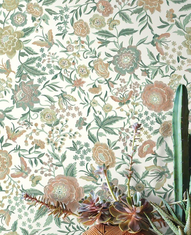florale textiltapete ventura in gr n auf wei von missoni home. Black Bedroom Furniture Sets. Home Design Ideas