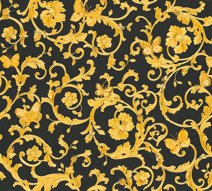 tapete versace barocco schwarz - Versace Muster