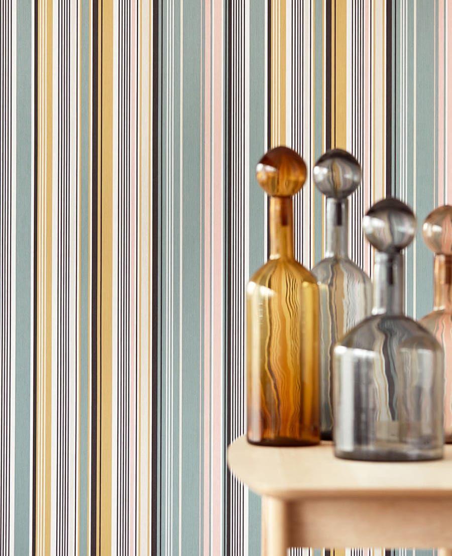 tapete yumi gelb von eijffinger kollektion stripes. Black Bedroom Furniture Sets. Home Design Ideas