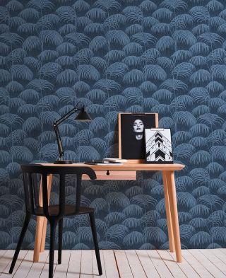 Tapete Palm Blau