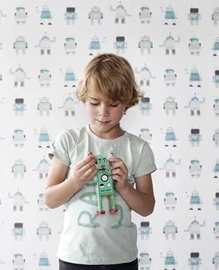 Tapete Robots Blau