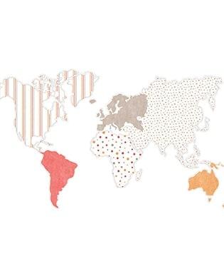 Wandbild Weltkarte Rot