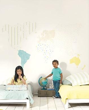 Wandbild Weltkarte Türkis